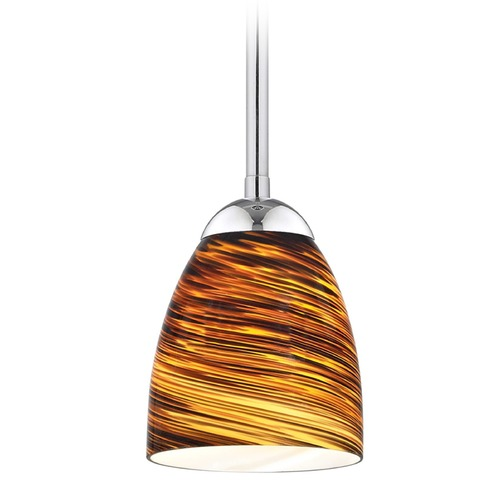 Design Classics Lighting Design Classics Gala Fuse Chrome LED Mini-Pendant Light with Bell Shade 681-26 GL1023MB