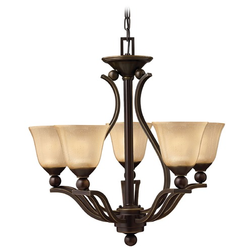 Hinkley Lighting Light Amber Seeded Glass Chandelier Bronze Hinkley Lighting 4655OB