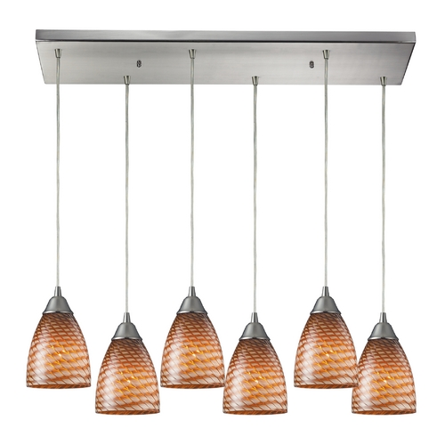 Elk Lighting Modern Multi-Light Pendant Light with Brown Glass and 6-Lights 416-6RC-C