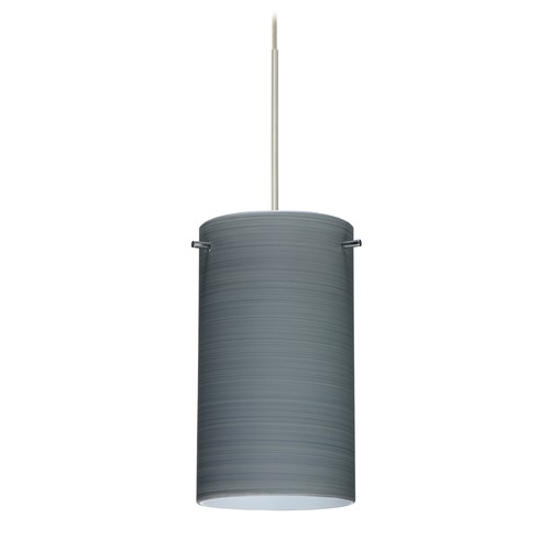 Besa Lighting Besa Lighting Stilo 7 Satin Nickel Mini-Pendant Light with Cylindrical Shade 1XT-4404TN-SN
