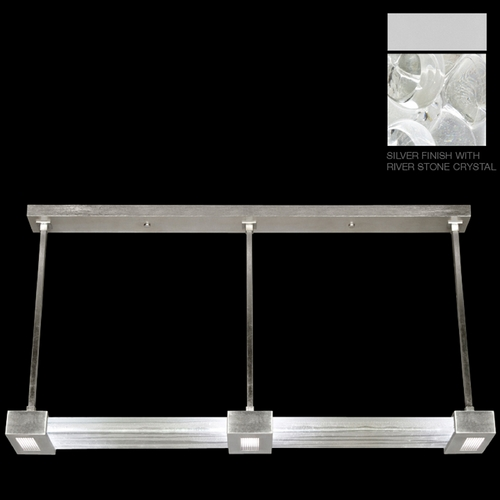 Fine Art Lamps Fine Art Lamps Crystal Bakehouse Silver Island Light with Rectangle Shade 826840-24ST