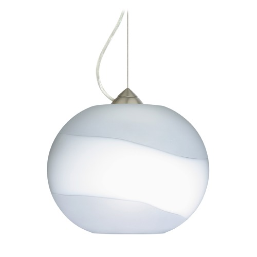 Besa Lighting Besa Lighting Luna Satin Nickel LED Pendant Light with Globe Shade 1KX-477699-LED-SN