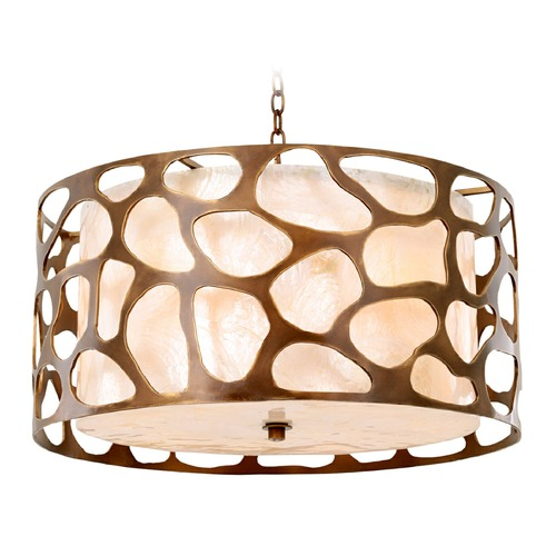 Kalco Lighting Kalco Gramercy Copper Patina Pendant Light with Drum Shade 501954CP