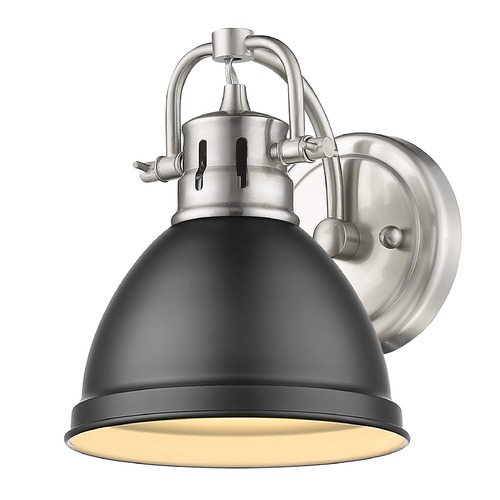 Golden Lighting Golden Lighting Duncan Pewter Sconce with Matte Black Shade 3602-BA1PW-BLK