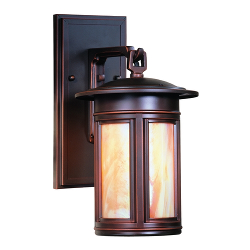 Troy Lighting Outdoor Wall Light with Iridescent Glass in Oil Rubbed Bronze Finish BFIH6914OB-D