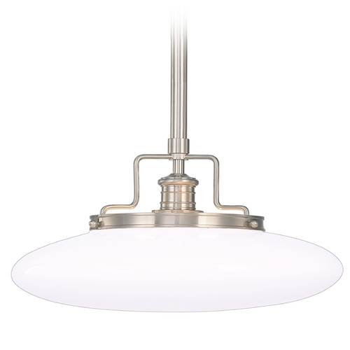 Hudson Valley Lighting Modern Pendant Light with White Glass in Satin Nickel Finish 4228-SN