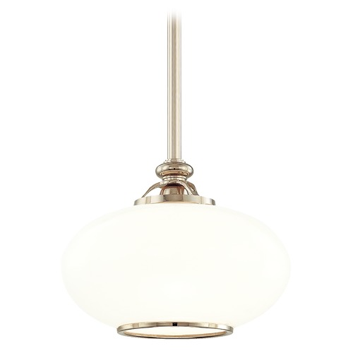 Hudson Valley Lighting Pendant Light with White Glass in Old Nickel Finish 9812-ON
