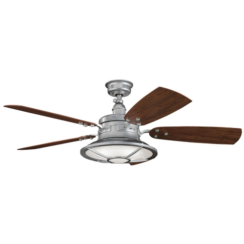 Kichler Lighting Kichler Ceiling Fan with Light Kit in Galvanized Steel Finish 310102GST