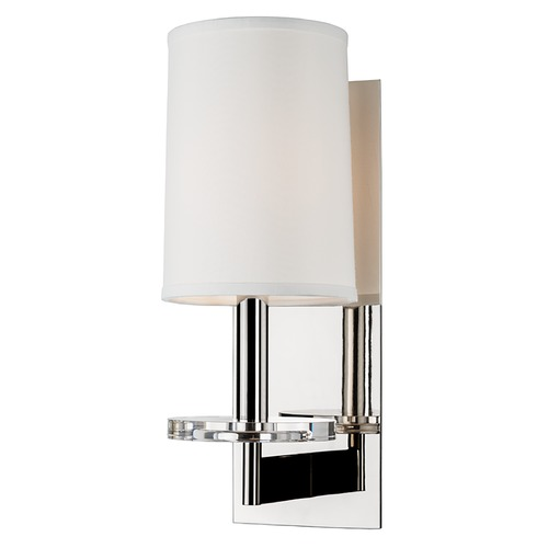 Hudson Valley Lighting Modern Sconce Wall Light with White Shade in Polished Nickel Finish 8801-PN