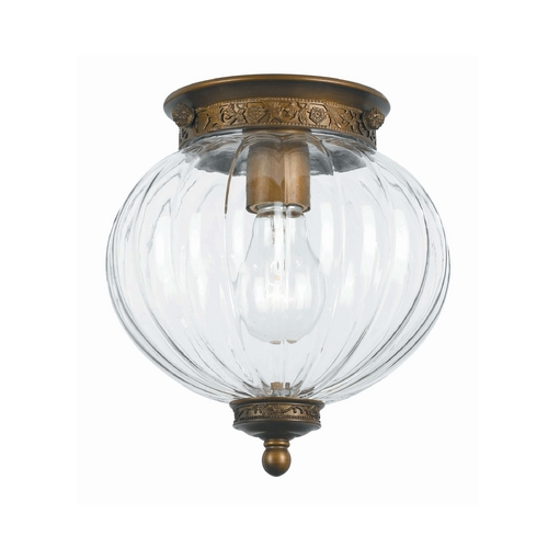 Crystorama Lighting Flushmount Light with Clear Glass in Antique Brass Finish 5780-AB