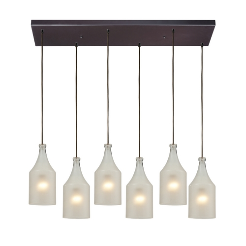 Elk Lighting Multi-Light Pendant Light with White Glass and 6-Lights 46005/6RC