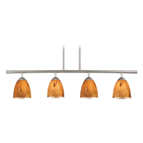 Design Classics Lighting Modern Island Light with Brown Glass in Satin Nickel Finish 718-09 GL1001MB