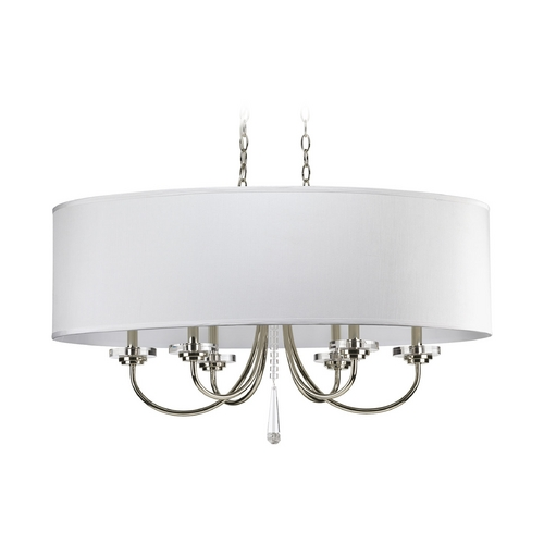Progress Lighting Progress Polished Nickel Crystal Pendant Light with White Shades P4431-104