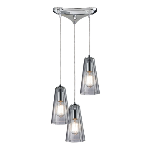 Elk Lighting Multi-Light Pendant Light with Clear Glass and 3-Lights 60058-3