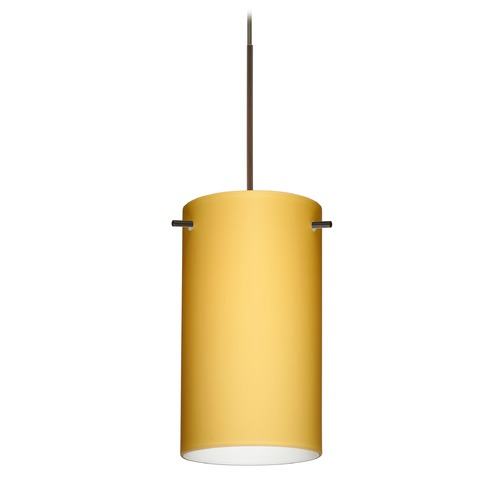 Besa Lighting Besa Lighting Stilo 7 Bronze Mini-Pendant Light with Cylindrical Shade 1XT-4404VM-BR