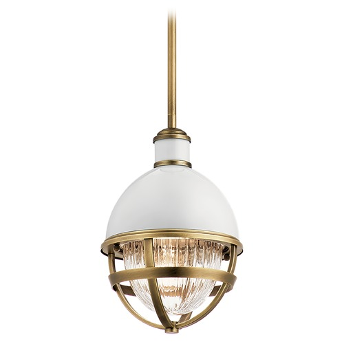 Kichler Lighting Tollis Small Natural Brass / Gloss White 1-Light Pendant with Clear Ribbed Glass 43011NBR