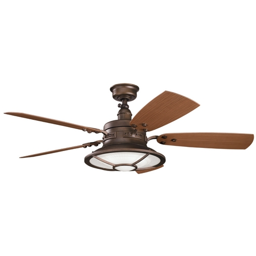 Kichler Lighting Kichler Ceiling Fan with Light Kit in Weathered Copper Finish 310102WCP
