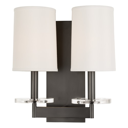 Hudson Valley Lighting Modern Sconce Wall Light with White Shades in Old Bronze Finish 8802-OB
