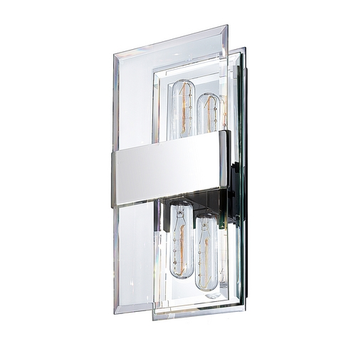 Sonneman Lighting Modern Sconce Wall Light with Clear Glass in Polished Chrome Finish 4282.01