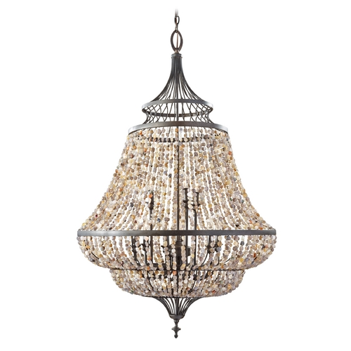 Feiss Lighting Chandelier in Rustic Iron Finish F2809/9RI