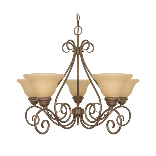 Nuvo Lighting Chandelier with Beige / Cream Glass in Sonoma Bronze Finish 60/1023