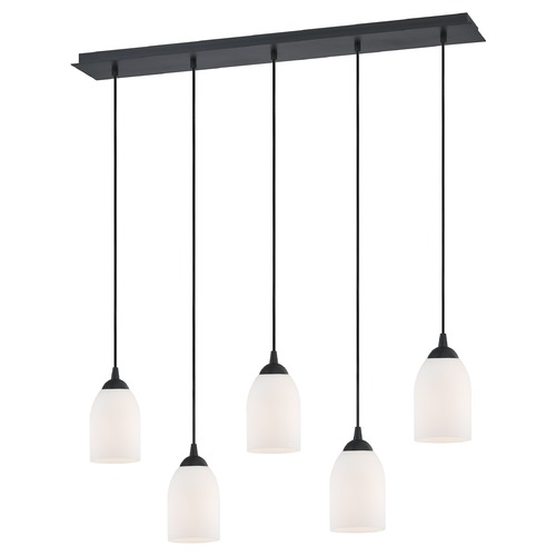 Design Classics Lighting 36-Inch Linear Pendant with 5-Lights in Matte Black Finish with Satin White Glass 5835-07 GL1028D