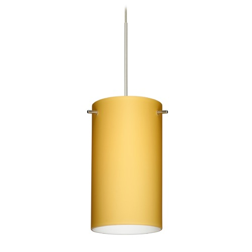 Besa Lighting Besa Lighting Stilo 7 Satin Nickel Mini-Pendant Light with Cylindrical Shade 1XT-4404VM-SN