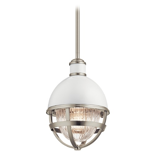 Kichler Lighting Tollis Small Brushed Nickel / Gloss White 1-Light Pendant with Clear Ribbed Glass 43011NI