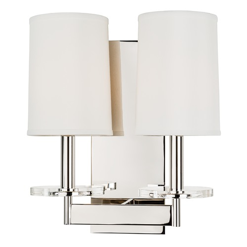 Hudson Valley Lighting Modern Sconce Wall Light with White Shades in Polished Nickel Finish 8802-PN