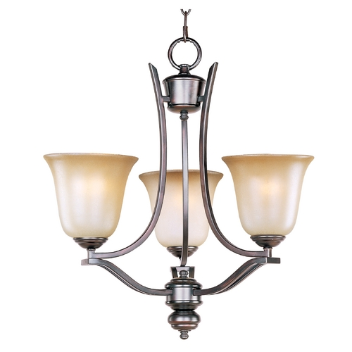 Maxim Lighting Mini-Chandelier with Beige / Cream Glass in Oil Rubbed Bronze Finish 10174WSOI