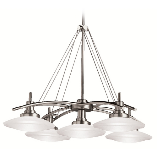 Kichler Lighting Kichler Modern Chandelier with White Glass in Brushed Nickel Finish 2055NI