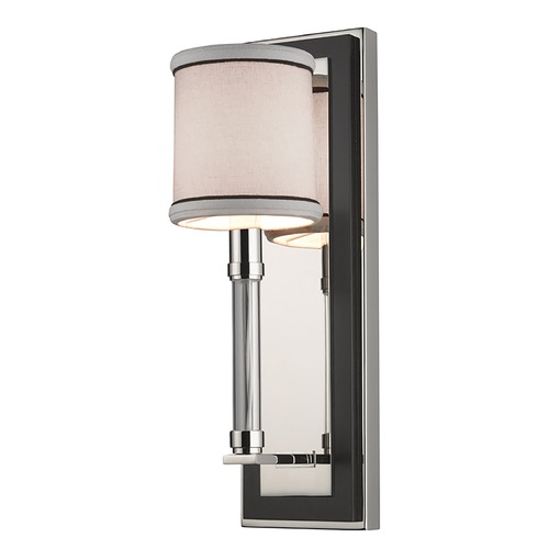 Hudson Valley Lighting Modern Sconce Wall Light with White Shade in Polished Nickel Finish 2910-PN