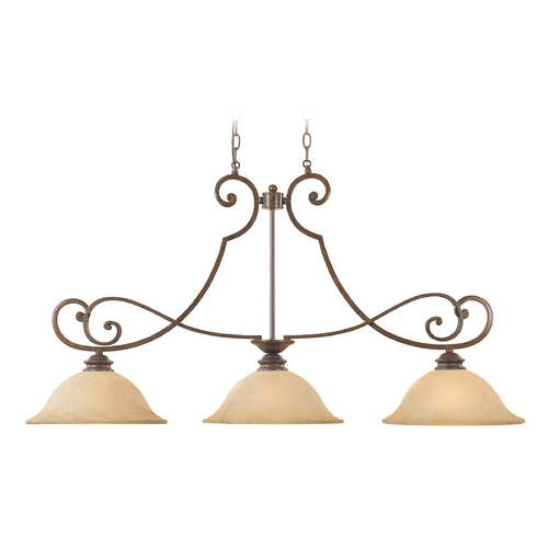 Designers Fountain Lighting Island Pendant Light with Amber Glass in Forged Sienna Finish 81838-FSN