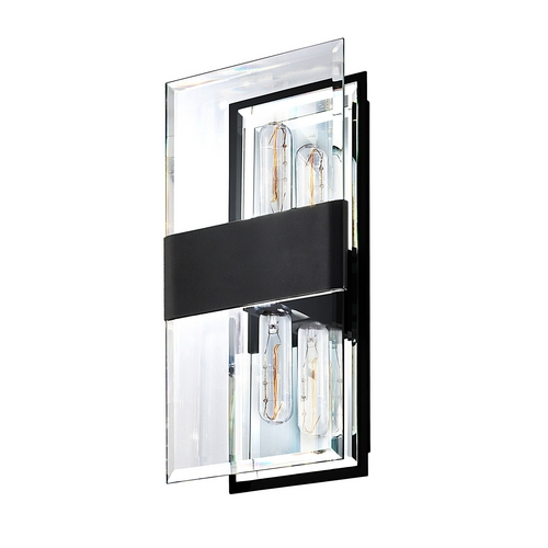 Sonneman Lighting Modern Sconce Wall Light with Clear Glass in Satin Black Finish 4282.25