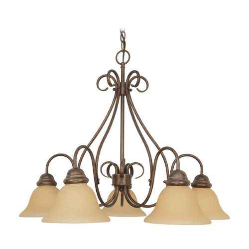Nuvo Lighting Chandelier with Beige / Cream Glass in Sonoma Bronze Finish 60/1024