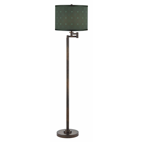 Design Classics Lighting Swing Arm Lamp with Green Shade in Bronze Finish 1901-1-604 SH9479