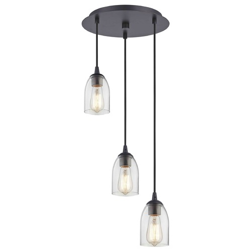Design Classics Lighting Bronze Multi-Light Pendant with Clear Dome Glass and 3-Lights 583-220 GL1040D