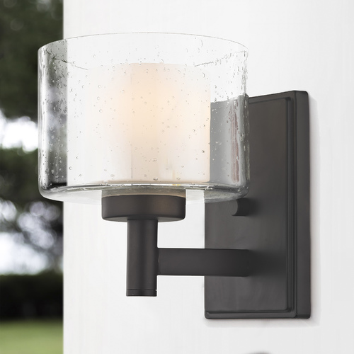 Design Classics Lighting Modern Neuvelle Bronze Sconce with Satin White and Clear Seeded Glass 2941-220