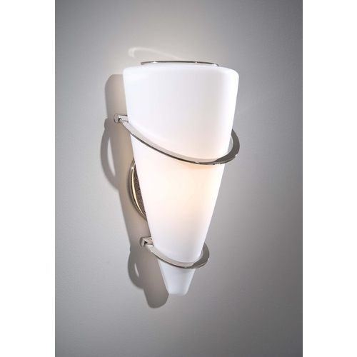 Holtkoetter Lighting Holtkoetter Modern Sconce Wall Light with White Glass in Polished Nickel Finish 2969 PN SW