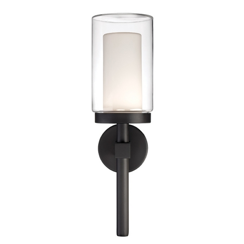 Modern Forms by WAC Lighting Modern Forms Deco Black LED Outdoor Wall Light WS-W1821-BK