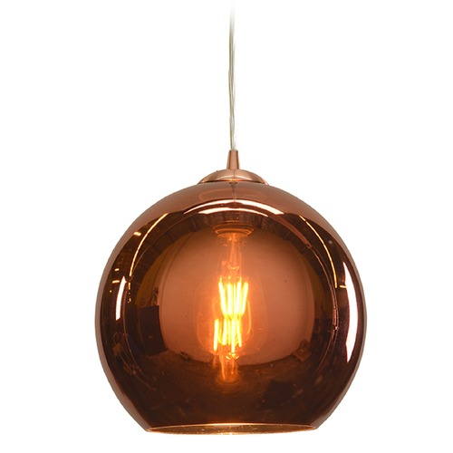 Access Lighting Access Lighting Glow Brushed Copper Mini-Pendant Light with Bowl / Dome Shade 28101-BCP/CP