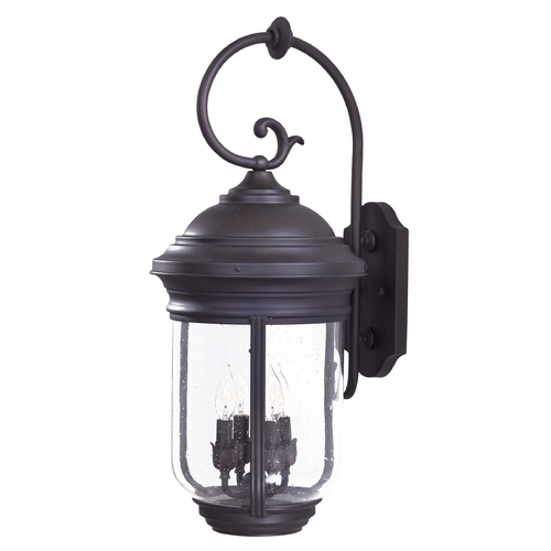 Minka Lavery Outdoor Wall Light with Clear Glass in Roman Bronze Finish 8812-57