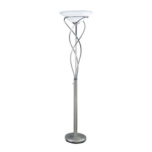 Lite Source Lighting Modern Torchiere Lamp with Alabaster Glass in Satin Steel Finish LS-9640SS