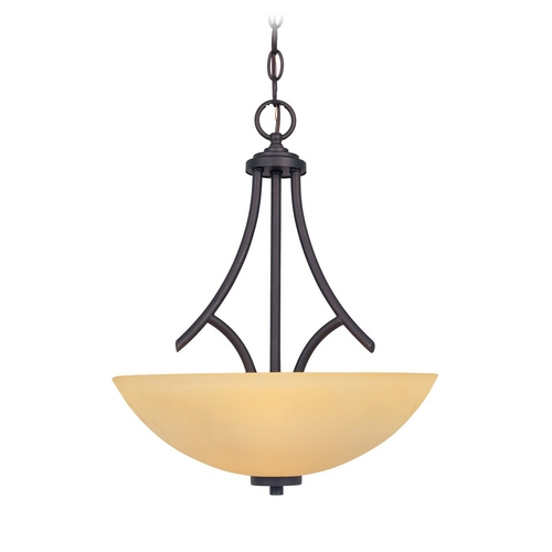 Designers Fountain Lighting Pendant Light with Beige / Cream Glass in Oil Rubbed Bronze Finish 83231-ORB