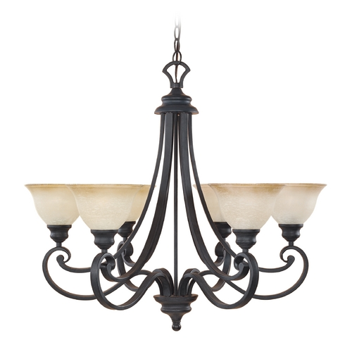Designers Fountain Lighting Chandelier with Beige / Cream Glass in Natural Iron Finish 96186-NI
