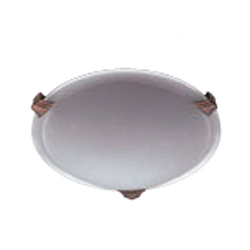 PLC Lighting Modern Flushmount Light with White Glass in Natural Iron Finish 6516  IR