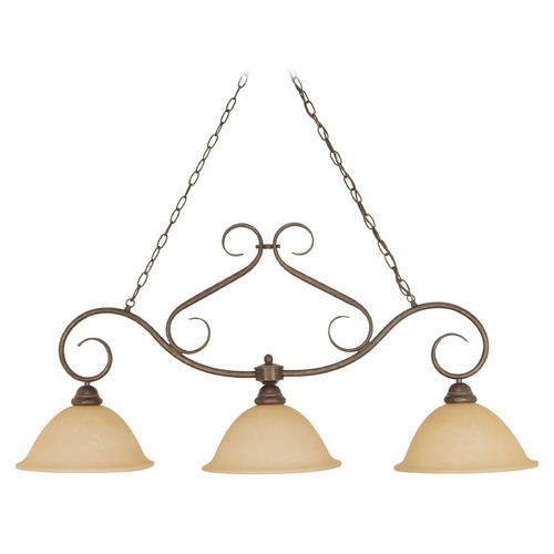 Nuvo Lighting Island Light with Beige / Cream Glass in Sonoma Bronze Finish 60/1025