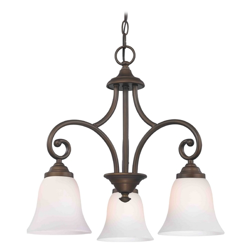 Design Classics Lighting Mini-Chandelier with White Glass in Bronze Finish 716-220 GL9222-WH