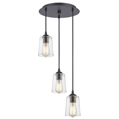 Design Classics Lighting Bronze Multi-Light Pendant with Clear Cylinder Glass and 3-Lights 583-220 GL1027-CLR