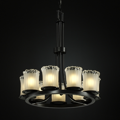 Justice Design Group Modern Chandelier with White Glass in Matte Black Finish GLA-8766-16-WTFR-MBLK